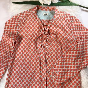 Fossil Long Sleeve Button Down Shirt Blouse Orange